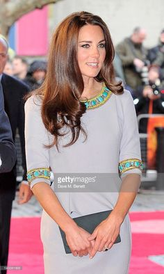 (EMBARGOED FOR PUBLICATION IN UK TABLOID NEWSPAPERS UNTIL 48 HOURS AFTER CREATE DATE AND TIME. MANDATORY CREDIT PHOTO BY DAVE M. BENETT/GETTY IMAGES REQUIRED)  Catherine, Duchess of Cambridge attend the UK Premiere of 'African Cats' in aid of Tusk at BFI Southbank on April 25, 2012 in London, England.  (Photo by Dave M. Benett/Getty Images)