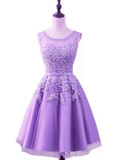afaccb171f2 Purple Short Tulle Beaded Round Neckline Knee Length Party Dress