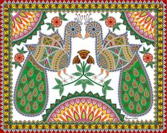 Pair of Peacock digitally painted in the style of Mithila / Madhubani Painting.  Symbol : Love  Mode of Creation : Digital  Artist: Nu...