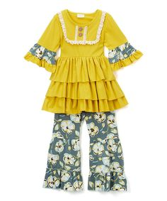 Look at this Mustard Yellow & Cobalt Ruffle Dress & Pants - Toddler & Girls on #zulily today!