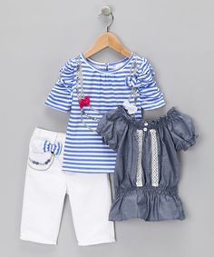 Look what I found on #zulily! White & Blue Stripe Bow Tee Set - Infant & Toddler by Nannette #zulilyfinds