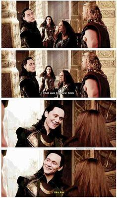 "Sif in the background is just like ""Did she just hit Loki? She just hit Loki!"" Also Thor ""Good, because she is your future sister in-law."" Loki: ""What?"" Thor: ""What? The Avengers, Loki Laufeyson, Loki Thor, Loki Marvel, Captain Marvel, Marvel Funny, Marvel Memes, Marvel Dc Comics, Avengers Memes"