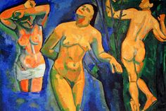 André Derain, Bathers, oil on canvas, x cm (Museum of Modern Art, New York) Andre Derain, Henri Matisse, Figure Painting, Painting & Drawing, Art Fauvisme, Moma Collection, Gauguin, Paul Cezanne, Georges Braque