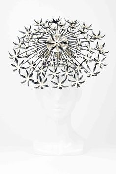 The Eternal Headonist  - SOLD OUT Allium II - Spectacular Wired Allium Headpiece With Black & Gold Leather Flowers by Love Lotus Millinery