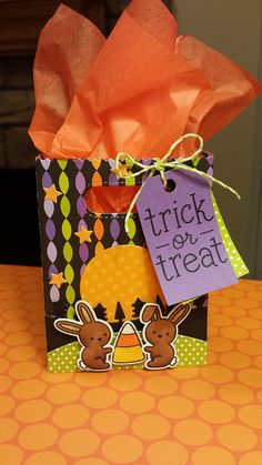 Lawn Fawn - Goodie Bag Lawn Cuts die, Snow Day + coordinating dies, Trick or Treat, Stitched Hillside Borders, Forest Border, Stitched Journaling Card (stars), Lime Lawn Trimmings _ colorful treat bag by Lindsey via Flickr - Photo Sharing!