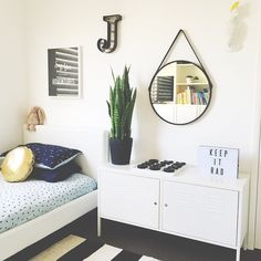 ikea cupboard, maybe kmart ox and light box….mirrors on wall…J and A and E letters on wall….new inspiration when we refurb boys rooms…..