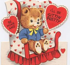 vintage valentine - sweet bear sitting in heart covered chair