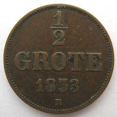 Oldenburg 1/2 grote 1853 (KM# 186)