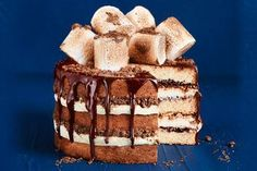 Indulge in this spectacular layered cake, with crunchy Milo clusters, hot chocolate syrup, and jumbo marshmallows. This rich chocolate cake will have everyone asking for a second slice! Hot Chocolate Cake Recipe, Chocolate Syrup, Flourless Chocolate, Decadent Chocolate, Chocolate Desserts, White Chocolate, Round Cake Pans, Round Cakes, Cooking Chocolate