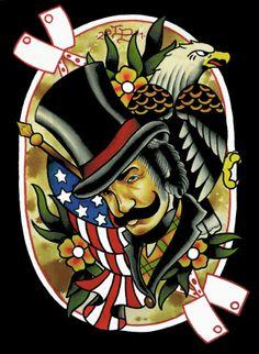 Bill the Butcher 8x10 Print #forsale $10 #watercolor #art #print #tattoo #traditional #traditionaltattoo #celebrity #celebrities #danieldaylewis #gangsofnewyork #billthebutcher #american #americana