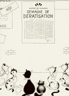 Albert Dubout 'Les chats' 21 Illustrations, Illustration Art, Albert Dubout, Son Chat, Black Cat Art, Cat Cards, Sculptures, Black And White, Drawings