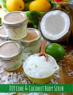 DIY Lime & Coconut Body Scrub Tutorial with free printable.a simple and sweet DIY gift! Diy Body Scrub, Diy Scrub, Coconut Body Scrubs, Lime Essential Oil, Essential Oils, Homemade Scrub, Homemade Soaps, Handmade Christmas Gifts, Handmade Gifts
