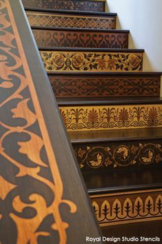 ☝☟escadas - Stenciled Stairs Benefited with a Faux Marquetry Wood Finish and Royal Design Studio stencils Cool Ideas, Stenciled Stairs, Beyond Paint, Stencil Wood, Floor Stencil, Bird Stencil, Damask Stencil, Wood Staircase, Staircase Ideas