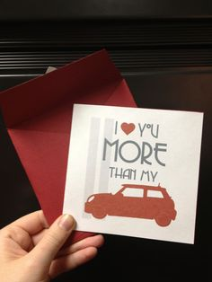 Mini Cooper Love: Greeting Card PDF File. $4.00, via Etsy.