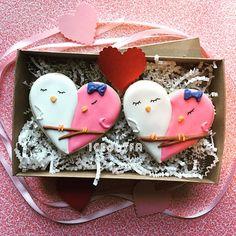 Lovebird valentines cookies sugar cookies