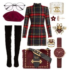 """Library chic"" by putxzzahra ❤ liked on Polyvore featuring Balmain, Christian Louboutin, Prada, Skagen, Olive & Ivy, Chanel and Gucci"