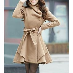 Sophisticated Turn-Down Collar Belt Embellished Pelpum Top Long Sleeves Slimming Overcoat For Women