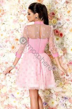 Rochie baby-doll roz cu buline Rn 1110 - imaginea 2