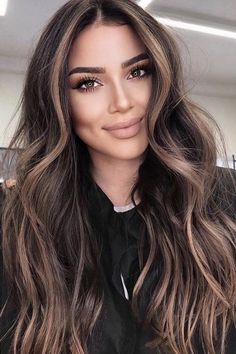 Hair Color Dark, Hair Color For Black Hair, Brown Hair Colors, Blonde In Brown Hair, Hair Colors For Summer, Balayage Dark Brown Hair, Hair Color Ideas For Black Hair, Brown Balyage, Cool Tone Brown Hair