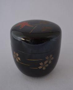 Japanese natsume tea caddy, black urushi lacquerware on wood by StyledinJapan on Etsy