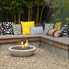 Like the wood mix Smalls-space garden makeover: Built-in warmth - Small Backyard Makeover - Sunset Mobile Backyard Seating, Fire Pit Backyard, Outdoor Seating, Outdoor Rooms, Backyard Landscaping, Outdoor Living, Outdoor Decor, Backyard Ideas, Landscaping Ideas