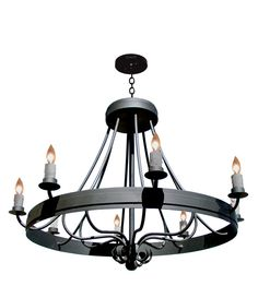 Wrought Iron Chandelier - Antique French Design - LC509A - hand forged iron chandeliers custom ceiling light fixtures