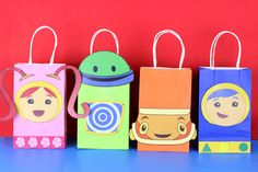 Decorate your Team Umizoomi Party with these cute Milli and Geo faces on your Favor Bags. Use them to create your own favor bags or centerpieces. Third Birthday, 4th Birthday Parties, Toddler Birthday Themes, Birthday Ideas, Alice, Diy Birthday Decorations, Party Favor Bags, Favor Boxes, Party Ideas