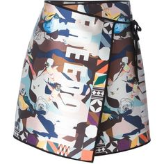 MSGM printed wrap skirt ($205) ❤ liked on Polyvore featuring skirts, multicolour, wrap skirt, white wrap skirt, multi colored skirt, colorful skirts and white knee length skirt
