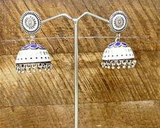 This item is unavailable Triangle Earrings, Round Earrings, Teardrop Earrings, Kiss You, Etiquette, Statement Jewelry, Blue Flowers, Earrings Handmade, Etsy Store