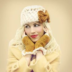 Camel Fingerless Gloves with Ivory Ruffle READY TO by mojospastyle, $35.00
