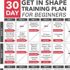 30-Day Get in Shape Training Plan for Beginners Calendar - Skinny Ms.