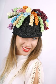 Funny knitted cap, Summer crocheted hat, colored statement hat, Black summer cap, Summer crocheted beanie, Cool crocheted cap, Fashion Unisex hat. This funny cap is crocheted from colored cellulose tread and can be warn in Spring, Summer and Autumn and great present for her or him.  This crocheted cap is one piece available in black with multicolor finish and fit sizes from 22 to 22 7/8  (56 to 58 size). If you need smaller/bigger size just send me a message with the order. If you n...