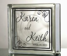 DIY Vinyl Decal Wedding Anniversary Name and Date Glass Blocks, Tiles, Mirrors - Wedding Name and Dates Vinyl Decal
