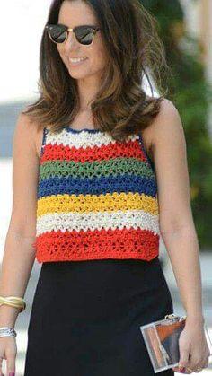 Crochet Summer Tops, Summer Knitting, Crochet Crop Top, Crochet Blouse, Crochet Poncho, Knitting Yarn, Easy Crochet, Crochet Edging Patterns, Crochet Diagram