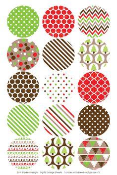 Christmas Kraft Digital Bottle Cap Images – Erin Bradley/Ink Obsession Designs