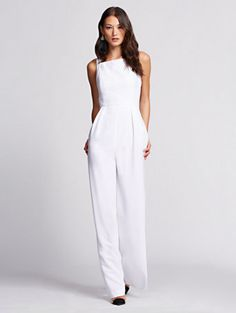 Jumpsuit - Gabrielle Union Collection - New York & Company All White Party Outfits, White Outfits For Women, All White Outfit, Neutral Outfit, White Party Attire, Jumpsuit Dressy, Jumpsuit Outfit, White Jumpsuit, White Pantsuit