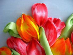 Tulips - detail #ribbonEmbroidery