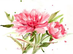 Red peony Original watercolor painting Floral art flowers