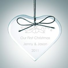 """Engraved Clear Glass Premium Heart #Christmas Tree Ornaments. The 3/16"""" thick Clear Glass Premium Heart Ornament with Silver Ribbon and Velvet Pouch included is the perfect Christmas holiday gift, years of service, wedding anniversary gift, or as a end of the year party gift for employees. Brighten up anyone's holiday or special occasion with our flawless ornaments! Each piece is hand-finished and inspected to ensure absolute perfection."""