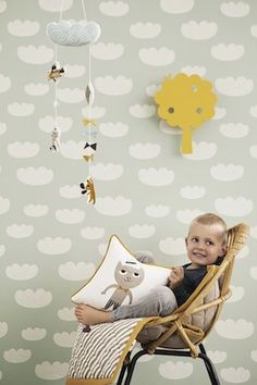 New range of Kids Wallpaper by Ferm Living - Mint Clouds just perfect for the Nursery Ferm Living Wallpaper, Cloud Wallpaper, Nursery Wallpaper, Kids Wallpaper, Amazing Wallpaper, Wallpaper Designs, Fabric Wallpaper, Baby Decor, Kids Decor