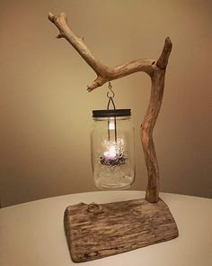 Lantern with driftwood and mason jar handmade by Len // Art w .- Laterne mit Treibholz und Einweckglas handmade by Len//Art www.de Lantern with driftwood and mason jar handmade by Len // Art www. Diy Para A Casa, Diy Casa, Driftwood Furniture, Driftwood Crafts, Diy Furniture, Rustic Furniture, Handmade Wood Furniture, Driftwood Ideas, Coastal Furniture