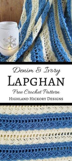 Crochet the Denim & Ivory Lapghan for wheelchair users, sitting on the couch or recliner, baby or toddler blankets. Can also customize this free pattern. #crochet #crochetpattern #crochetafghan