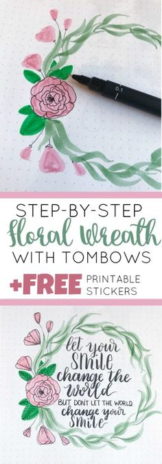 Step-by-Step Floral Wreath for You Bullet Journal + Free Sticker Sheet