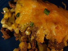 Mexican Cornbread Casserole – make a Mexican casserole dinner that is easy to make. I use 2 packages of mexican cornbread mix in the bag. One on bottom, fill with meat, cheese, etc and the other on top. Bake.