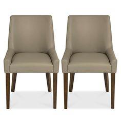 Logan Walnut Pair of Dining Chairs | Dunelm