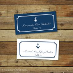 Printable wedding place cards nautical wedding by saralukecreative