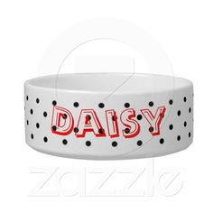 Personalized Pet Gift : Cat`s Name - Pet Bowl Pet Bowls, Pet Gifts, Cute Designs, Your Pet, Polka Dots, Black And White, Cat, Pattern, Color