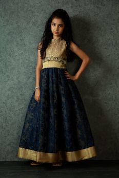 Net gown embellished with zardosi and zari work from #Benzer #Benzerworld #kidswear