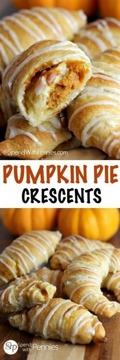 If you like Pumpkin Pie youll love this quick easy dessert hack! Pumpkin Pie C If you like Pumpkin Pie youll love this quick easy dessert hack! Pumpkin Pie Crescents give you all of the flavor of pumpkin pie fresh out of the oven in minutes! Köstliche Desserts, Delicious Desserts, Dessert Recipes, Yummy Food, Brownie Recipes, Spice Cake Mix Recipes, Plated Desserts, Pumpkin Pie Recipes, Fall Recipes