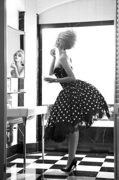 1950`s Fashion, adorable bathroom, bun, classy, doll dress, black & white, femenine, girly and gorgeous.